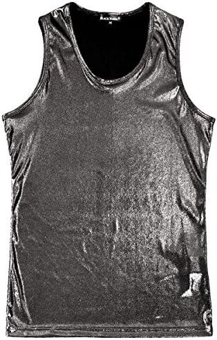 タンクトップ ラメ 無地 ストレッチ 光沢 細身 タンク メンズ ブラック黒 181323