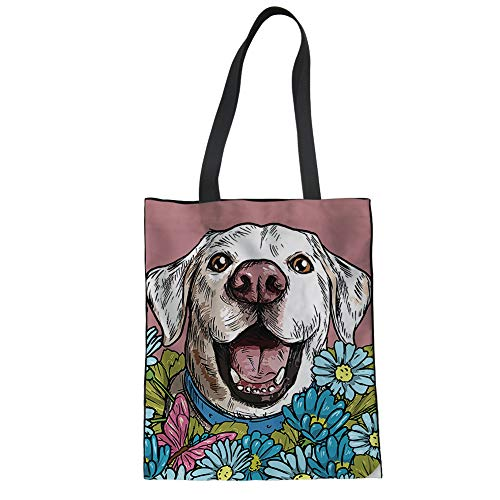 - Mumeson Canvas Bag Shopping Bags for Women Ladies Adorable Labrador Daisy Pattern Portable Reusable Shoulder Bag Linen Tote
