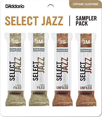 D'Addario Woodwinds D'Addario Select Jazz Soprano Saxophone Reed Sampler Pack, 3S/3M (DSJ-I3S)