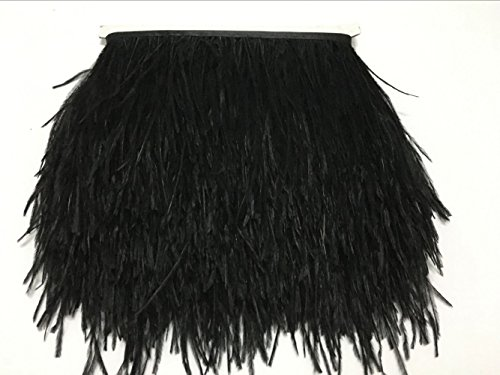 MELADY 5 Yards Fashion Dress Sewing Crafts Costumes Decoration Ostrich Feathers Trims Fringe with Satin Ribbon Tape (Black) ()