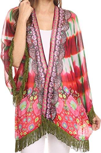 Sakkas KF2503537AT - Kimono Finley Sheer Kimono Top Cardigan Jacket with with Fringe and Design Print - Red/Multi - - Cardigan Trim Georgette