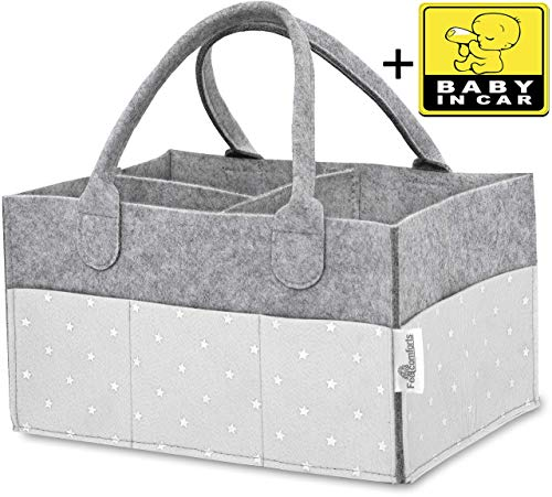 Baby Diaper Caddy Organizer - Stars, Excellent for All Diaper Sizes, Wipes, Nursery Storage Bins, Baby Travel, Changing Tables and Toys - Exclusive Baby Shower Gift