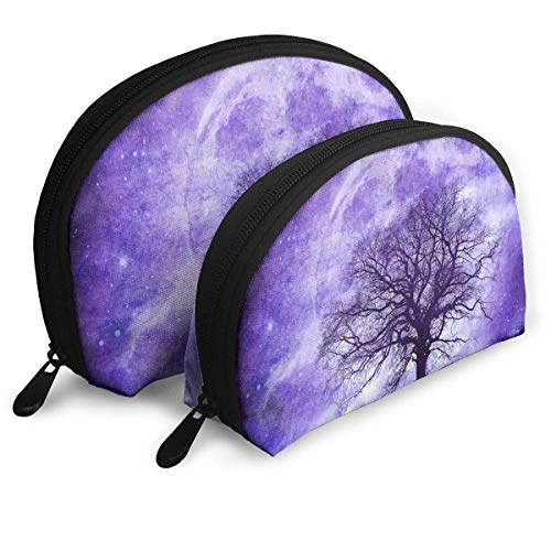 (2pcs Satellite Tree Side Shadow Cosmetic Bag Travel Makeup Pouch Bag Portable Shell Makeup Bag Clutch Toiletry Pouch with Zipper)