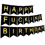 Threemart Happy FING Birthday Decorations Banner,Funny 21st 30th 40th 50th Black Birthday Premium Quality Party Supplies