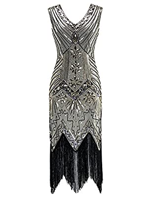 ThinIce Women's 1920s Flapper Dresses Vintage V Neck Sequin Tassel Gatsby Dress