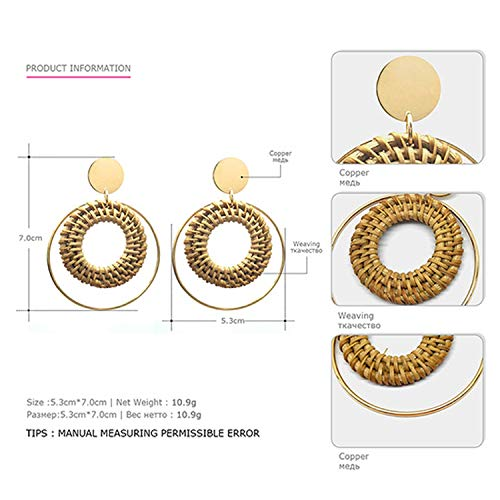 eManco Big Round Wooden Woven Pendant Earrings for Women Simple Fashion Alloy Dangle 2 Color Earrings,coffee