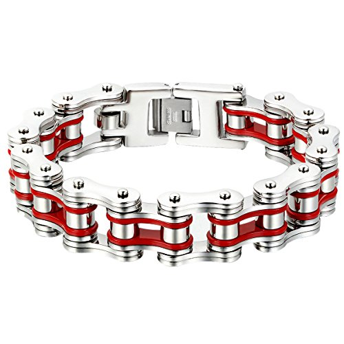 Oidea Mens Stainless Steel 16MM Wide Heavy Gothic Bicycle Chain Biker Bracelet Two Tone,Red, 9 Inch
