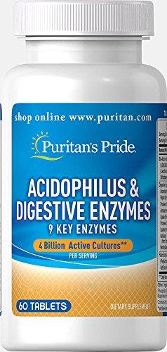 Puritan's Pride Acidophilus & Digestive Enzymes-60 Tablets Acidophilus 60 Tabs