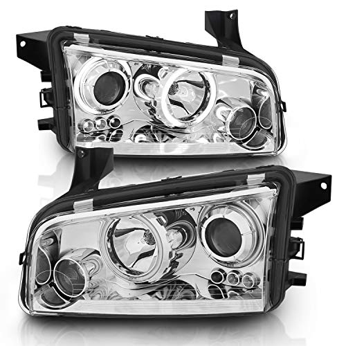 AmeriLite Projector Headlights Chrome (CCFL Halo) for Dodge Charger - Passenger and Driver Side Chrome Ccfl Halo Projector