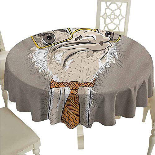 (duommhome Indie Oil-Proof Tablecloth Sketch Portrait of Funny Modern Ostrich Bird with Yellow Eyeglasses and Tie Easy Care D39 Taupe Beige Yellow)