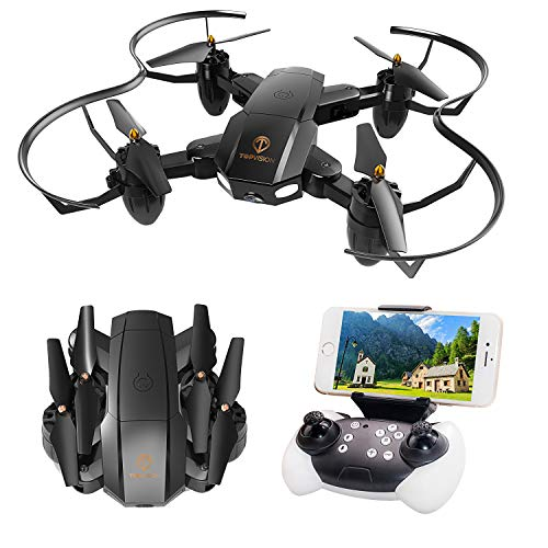 Drone with Camera, TOPVISION Foldable Quadcopter RC Drone with WiFi FPV 480p Camera Live Video, Altitude Hold, One Key Start, APP Control, Black