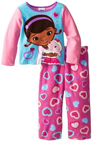 Doc McStuffins Little Girls' and Lambie Cozy Fleece Pajama Set, Multi, 4T