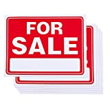 6-Piece For Sale Signs - PVC Signs, Yard Sale Signs, Garage Sale Signs, Clothing Sale, Red and White - 15.7 x 11.7 Inches