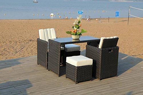 rattan furniture outdoor garden patio cube 4 seat dining bar table set black