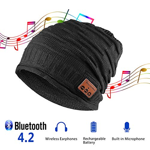 (Pococina Upgraded 4.2 Bluetooth Beanie Music Hat Winter Knit Hat Cap Wireless Headphone Musical Speaker Beanie Hat as Christmas Birthday Gifts for Men Women Teen Girls Boys, Built-in Mic -)