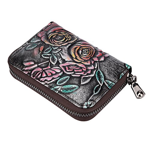 Womens Credit Card Holder Fmeida Leather Card Case Accordion Wallet with 12 Card Slots(Silver)