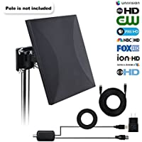 HDTV Antenna,100 Mile Range Indoor/Outdoor TV Antenna with with Omni-directional 360 Degree Reception for FM/VHF/UHF,Tools-free Installation,32.8FT Long Coaxial Cable and Weatherproof Lightning Protec