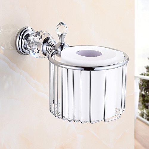 OWOFAN Toilet Paper Holder Bathroom Basket Paper Towel Storage Tissue Shelf Luxury Crystal Wall Mount Brass Chrome Silver, HK-35L