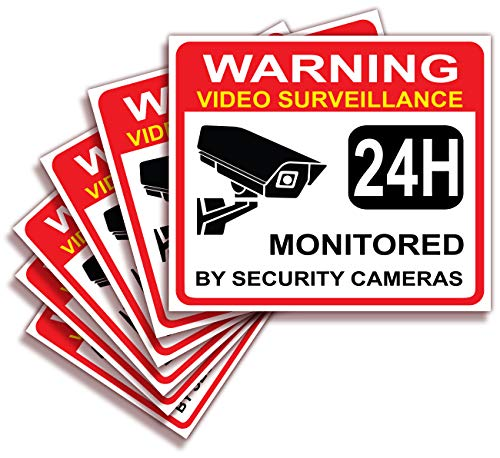 Video Surveillance Warning Sign Sticker - Decal, 6x Pack, 3.5