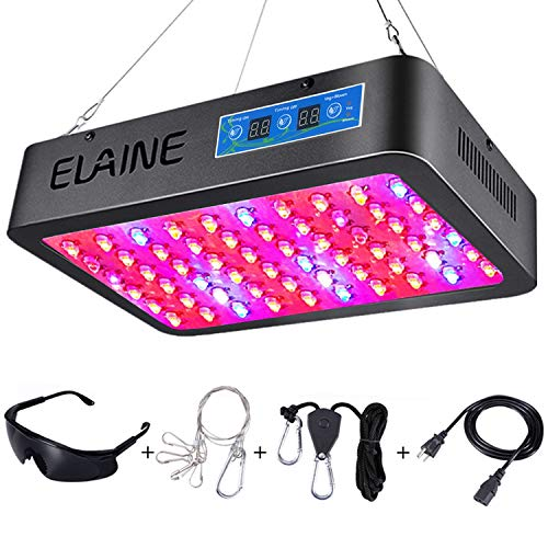 Elaine Timer Control 600W LED Grow Light Full Spectrum Auto On Off Timing Function with UV IR for Greenhouse Indoor Plant Veg and Flower