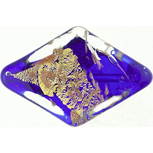 (Murano Glass Bead, Cobalt Blue, Double Triangle 24mm with Gold, Silver and Aventurina )
