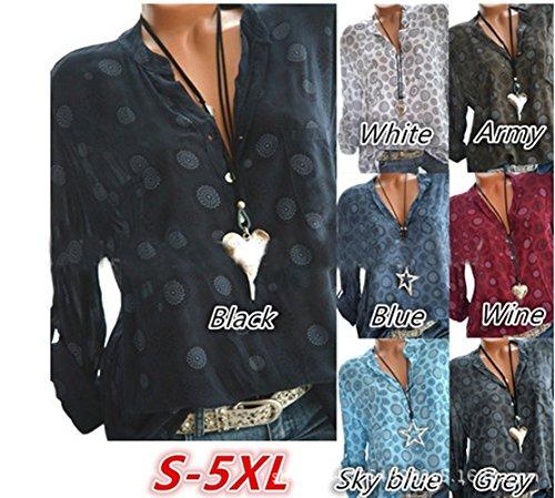 e Lago Regolabile Bluse Camicie Tops Cime Autunno Lunga a Stampa Primavera Manica Casual Lungo Sciolto Maglie Maglietta Scollo Shirts Moda Blu V JackenLOVE Donne Z5BSqC
