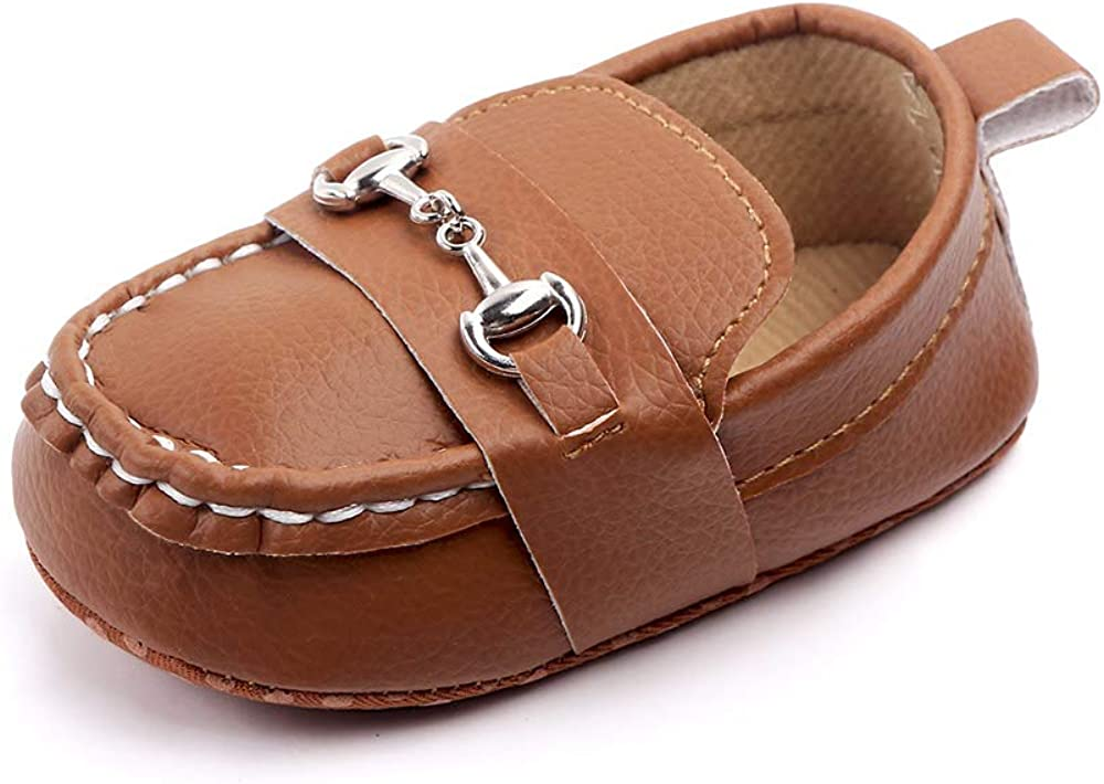 XYLUIGI Baby Loafers Infant Toddler Boys Girls Prewalker Moccasins Crib Dress Shoes Nubuck PU Leather Sneakers, Brown 12-18 Months