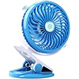 USB Rechargeable Battery Fan Clip on Fan Portable Baby Stroller Fan Desk Mini Battery Operated USB Clip Fan Quietness Adjustable Mini Table Personal Fan Blue