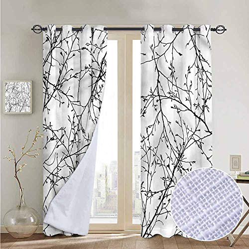 NUOMANAN Living Room Curtains Nature,Branches with Leaves Buds,Adjustable Tie Up Shade Rod Pocket Curtain 52