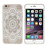 SODIAL(R) White Flower Skin Hard Case Pattern White Mandala Pattern For iPhone6 4.7 Inches