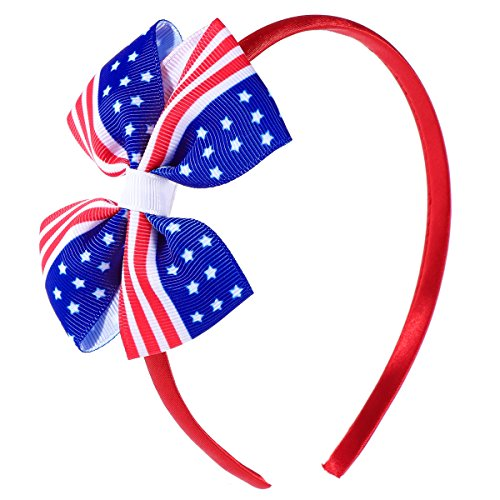 LUOEM America Flag Hair Clip Kids Children Girls Bowknot Hairpins for Independence Day 4th of July National Day (Patriotic Hat Hair Clip)