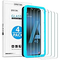 OMOTON [4 stuks] beschermfolie van gehard glas voor Samsung Galaxy A40, met sjabloon, 9H-hardheid, anti-kras, anti-olie…