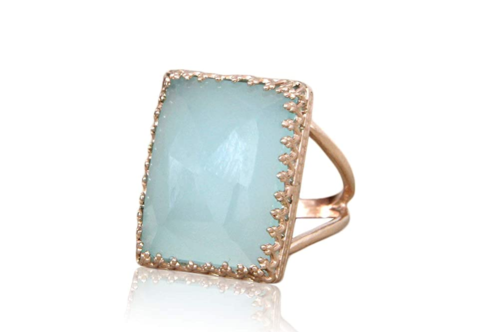 Gemstone Ring Gemstone Jewelry Rose Gold Ring Engraved Ring Rose Gold Plated Natural Pink Chalcedony Ring Chalcedony Ring