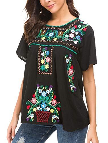 Cotton Peasant Dress - YZXDORWJ Women's Embroidered Mexican Peasant Blouse (XXL, Black288)