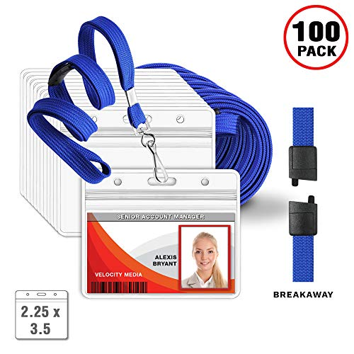 Safety Badge Holder - MIFFLIN Lanyards and Horizontal ID Holders, Flat Safety Lanyard + Clear Badge (Blue, 2.25x3.5