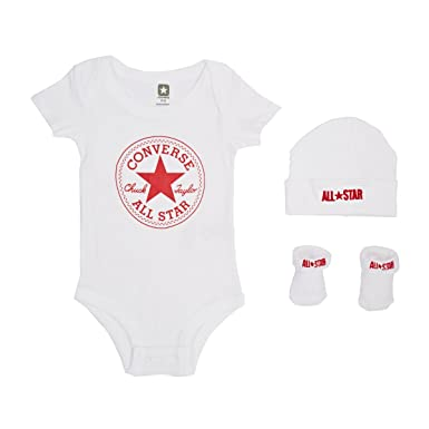 e150587a6 Converse Baby 3 Piece Clothing Set, White, 0-6 Months: Amazon.co.uk:  Clothing