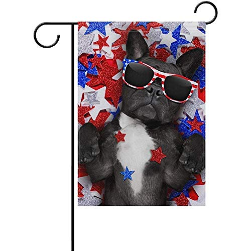 Welcome Cool Bulldog Seasonal Holiday Polyester Garden Yard Flag Banner 12 x 18 inches Decorative Flag Home Indoor Outdoor Decor ()