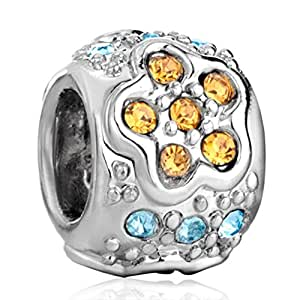 Birthstone Silver Plated Bead Fit Pandora Charms