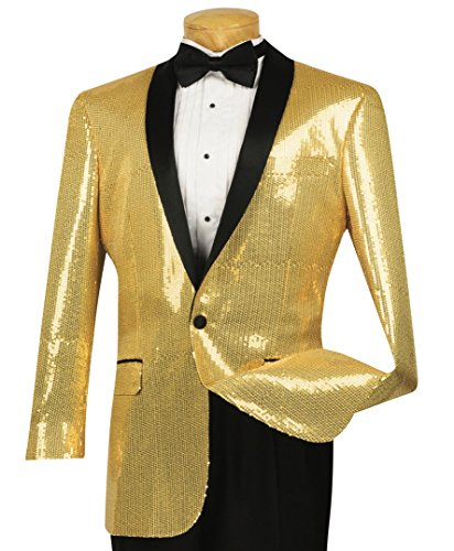Button Tuxedo Jacket (Vinci Men's Sequins 1 Button Classic-Fit Tuxedo Jacket w/Black Shawl Lapel New [Color Gold | Size: XL])
