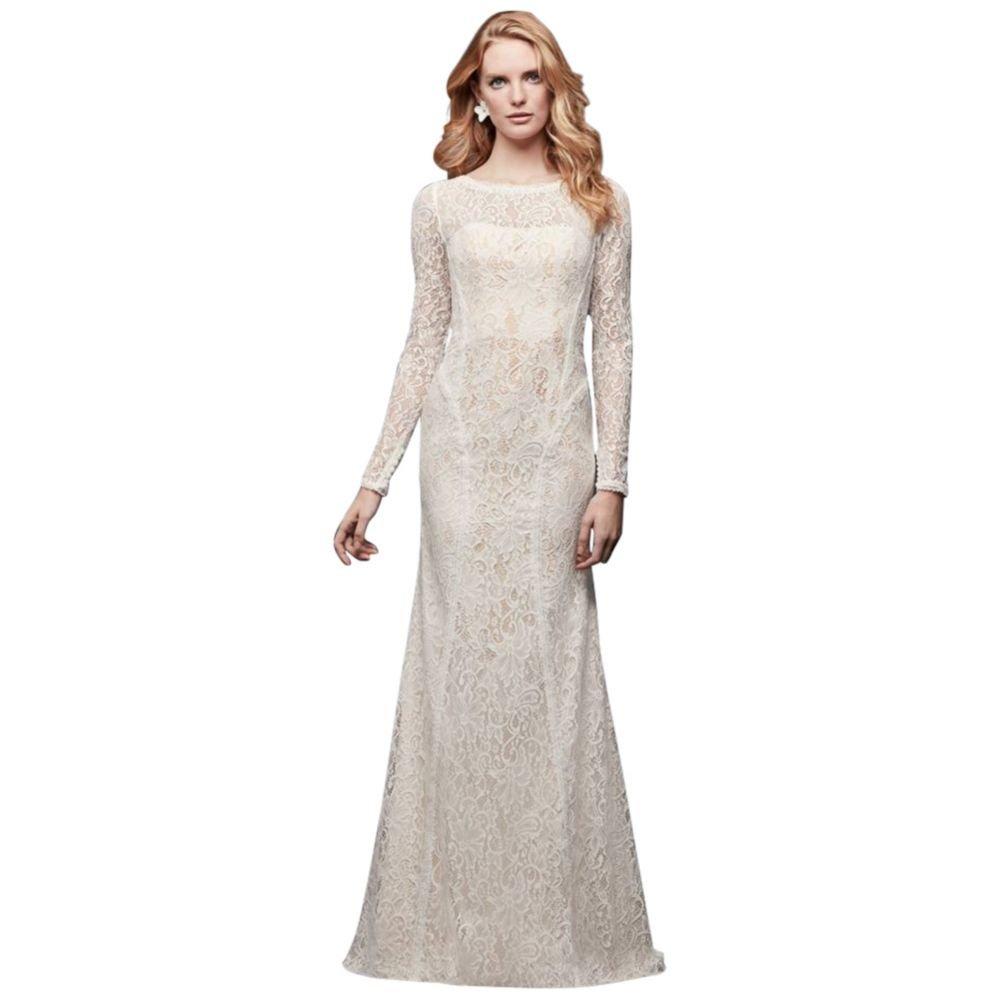 Allover Lace Long Sleeve Sheath Wedding Dress Style Wg3914 At Amazon
