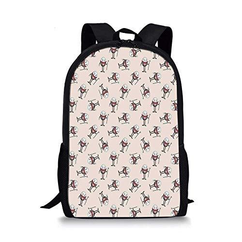 Alice in Wonderland Stylish School Bag,Humpty Dumpty Egg Dancing Character Fairy Alice Fantasy Decor for Boys,11''L x 5''W x 17''H ()