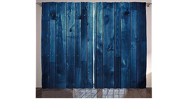 ABAKUHAUS Azul Oscuro Cortinas, Textura de Madera de tablones, Sala de Estar Dormitorio Cortinas Ventana Set de Dos Paños, 280 x 260 cm, Azul pálido Azul Oscuro: Amazon.es: Hogar