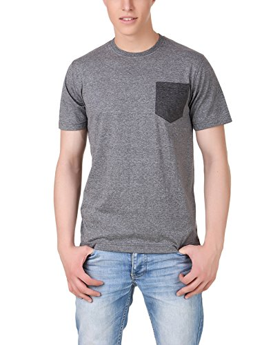 Aventura Outfitters Men's Round Neck T-Shirt With Contrast Pocket (Anthra Melange)
