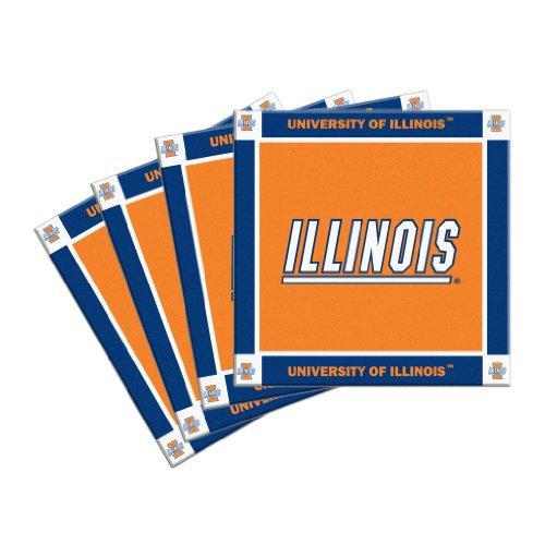 NCAA Illinois Fighting Illini Ceramic Coasters, (Illinois Fighting Illini Beer)