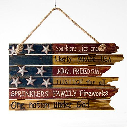Glitzhome Patriotic Decorations Rustic American Flag Word Wall Sign Door Hanger