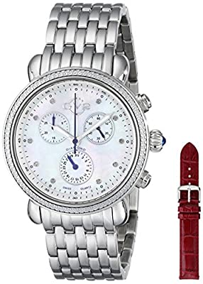 GV2 by Gevril Marsala Womens Diamond Chronograph Swiss Quartz With Additional Leather Strap Stainless Steel Bracelet Watch, (Model: 9801) by First SBF Holding Inc.