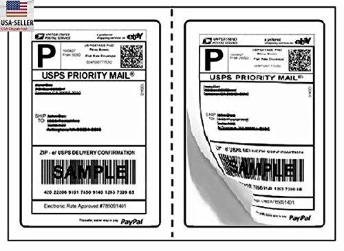 BESTeck Perforated Shipping Labels Round Corner 2 Labels Per Sheet Laser/InkJet Printer for USPS Click-n-Ship UPS eBay FedEx Amazon (100 - Usps Free Shipping