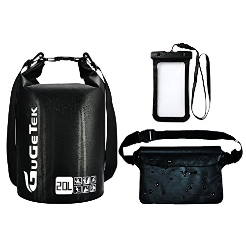 ackpack GuGeTek 10L 20L Submersible Floating Roll Top Dry Compression Sack for Kayaking Beach Camping Hiking and Other Water Sports (Black with phone case and waist pouch, 20L) ()