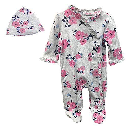 Little Me Baby Girls Footed Sleeper Cotton Pajamas Floral Footie and Hat Grey 6 Months