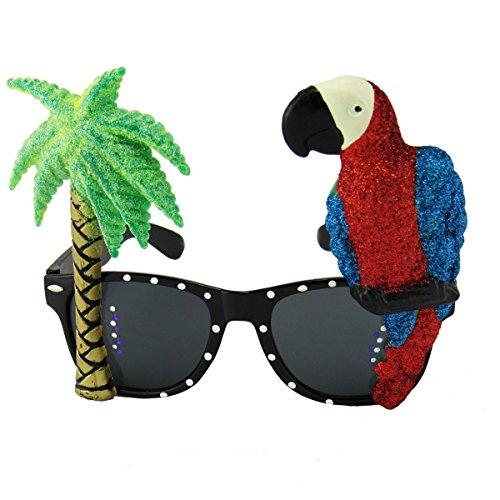 Hawaiian Style Parrot Miami Beach Party Novelty Costume Glitter Sunglasses by EnderToys